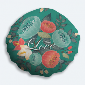 With love! Round Satin Throw Pillow Without Insert