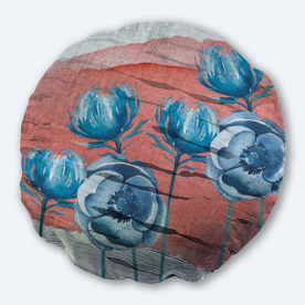 Vibrant Flowers Round Silver Jacquard Throw Pillow With Insert