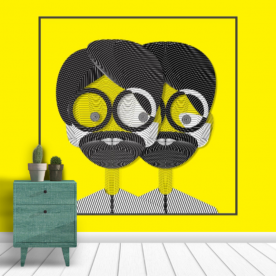 Lined faces Drip Wall Mural