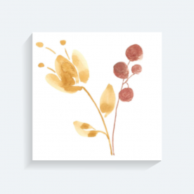 Falling Buds Yellow Flower BaeLolly Square Canvas Frame