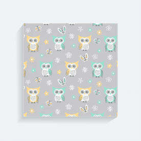 Sweet-quiet-gender-neutral-owls-gray-yellow-aqua-baby-child-kids BaeLolly Square Canvas Frame