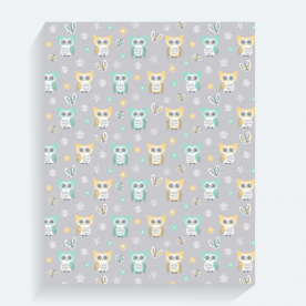 Sweet-quiet-gender-neutral-owls-gray-yellow-aqua-baby-child-kids BaeLolly Rectangle Canvas Frame