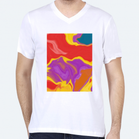 Colorful Abstract Marble 1 BaeLolly Men's V-Neck T-shirt