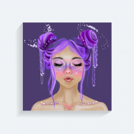 Space Girl BaeLolly Square Canvas Frame