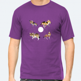 Wolves and the Moon BaeLolly Men's Round Neck Half Sleeve T-Shirt