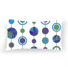Marbled Spots Blue, Green, Purple Lumbar Canvas Throw Pillow Without Insert