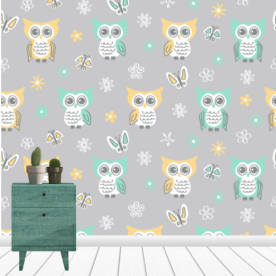 Sweet-quiet-gender-neutral-owls-gray-yellow-aqua-baby-child-kids Leatherette Eco Wall Mural