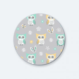 Sweet-quiet-gender-neutral-owls-gray-yellow-aqua-baby-child-kids BaeLolly Round Button Badge Pack Of 4
