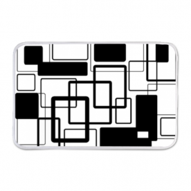 Black Noir and White Geometric Door Mat Indoor Fleece Mat
