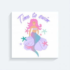 Time to swim mermaid BaeLolly Square Canvas Frame