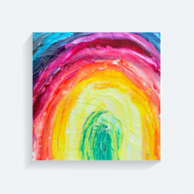 textured rainbow BaeLolly Square Canvas Frame