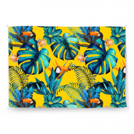 Tropical-wood-with-toucans by KSDesigns Twilight Jute Wall Tapestry