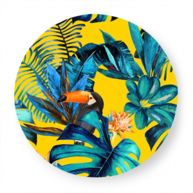 Tropical-wood-with-toucans by KSDesigns Cosby Poly Mouse Pad