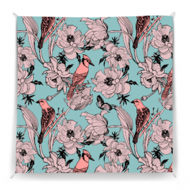 Graphics-flowers-peonies-and-birds-on-branches by Lilisavelieva Polly Striped Wall Tapestry