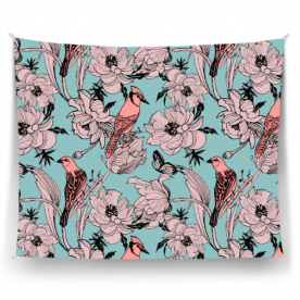 Graphics-flowers-peonies-and-birds-on-branches by Lilisavelieva Cornelia Satin Wall Tapestry