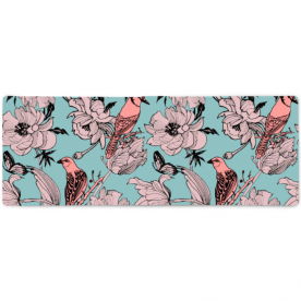 Graphics-flowers-peonies-and-birds-on-branches by Lilisavelieva Aubree Large Striped Bed Runner