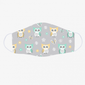 Sweet-quiet-gender-neutral-owls-gray-yellow-aqua-baby-child-kids by Lilisavelieva BaeLolly Emma Face Mask