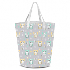 Sweet-quiet-gender-neutral-owls-gray-yellow-aqua-baby-child-kids by Lilisavelieva Laila All Over Print Laundry Bag