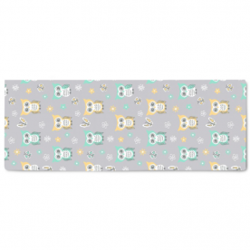 Sweet-quiet-gender-neutral-owls-gray-yellow-aqua-baby-child-kids by Lilisavelieva Naomi Large Canvas Bed Runner