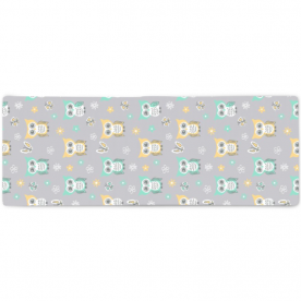 Sweet-quiet-gender-neutral-owls-gray-yellow-aqua-baby-child-kids by Lilisavelieva Aubree Large Striped Bed Runner