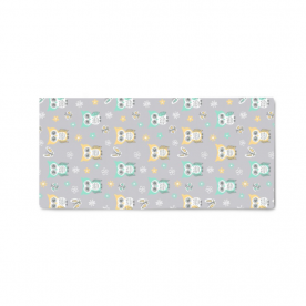 Sweet-quiet-gender-neutral-owls-gray-yellow-aqua-baby-child-kids by Lilisavelieva Naomi Small Canvas Bed Runner