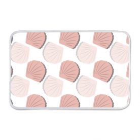 Beautiful Beach Collection Pink Seashells Grid Pattern Indoor Fleece Mat