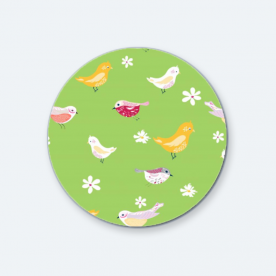 bird pattern pea green-01 BaeLolly Round Button Badge Pack Of 4
