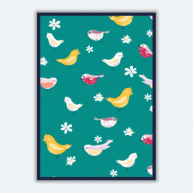 bird pattern turquoise-01 BaeLolly A3 Poster Frame