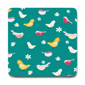 bird pattern turquoise-01 Rozzby Foam Mouse Pad