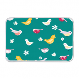 bird pattern turquoise-01 Indoor Fleece Mat