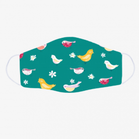 bird pattern turquoise-01 BaeLolly Emma Face Mask
