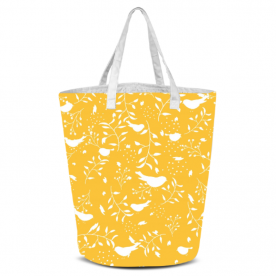 birds and leaves white silhouette yellow-01 Laila All Over Print Laundry Bag