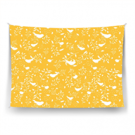 birds and leaves white silhouette yellow-01 Ardour Satin Wall Tapestry