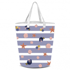 Beautiful Beach Collection Blue Stripe with Sea Life Laila All Over Print Laundry Bag