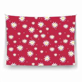 daisies red-01 Ardour Satin Wall Tapestry