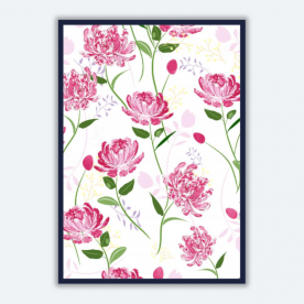 peony pattern-01 BaeLolly A3 Poster Frame