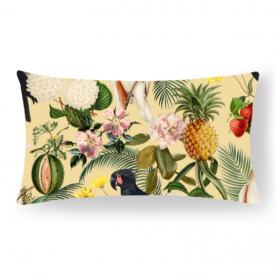 Colorful Cockatoo Woodland Soul Collection Lumbar Brasso Jacquard Throw Pillow With Insert