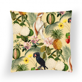 Colorful Cockatoo Woodland Soul Collection Square Satin Throw Pillow Without Insert