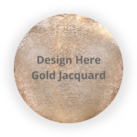 Round Gold Jacquard Throw Pillow Without Insert