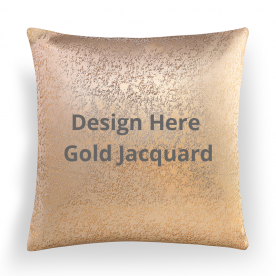 Square Gold Jacquard Throw Pillow With Insert