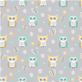 Sweet-quiet-gender-neutral-owls-gray-yellow-aqua-baby-child-kids Indoor Fleece Mat
