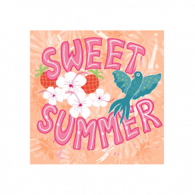Sweet Summer tropical wall art BaeLolly Square Canvas Frame