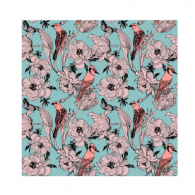 Graphics-flowers-peonies-and-birds-on-branches by Lilisavelieva BaeLolly Emma Face Mask