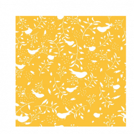 birds and leaves white silhouette yellow-01 Piper  Small Satin Bed Runner